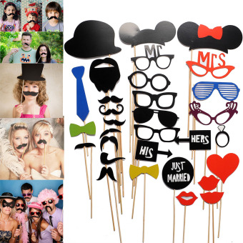 31PCS New DIY Funny Masks Photo Props Mustache On A Stick Wedding Birthday Party Price Philippines