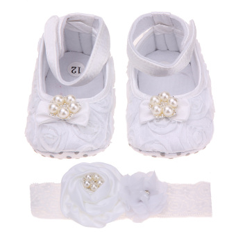 Baby Flower Princess Footwear Shoes + Pearl Headband (White) Price Philippines