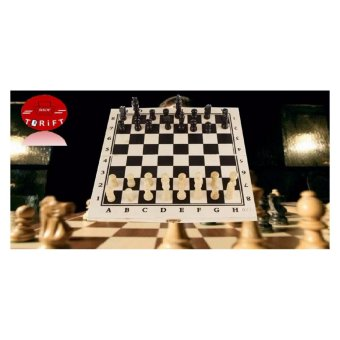 Harga SHOP AND THRIFT Folding Portable Hand Crafted Wooden Chess Board Traditional Games