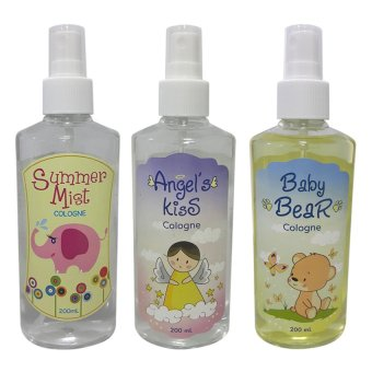Harga Angel's Kiss with Baby Bear and Summer Mist Baby Cologne 200ml Bundle (Multicolor)