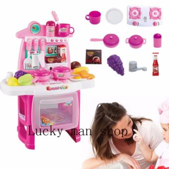 Harga USA TOP ONE LAZADA BEST Kitchen Set (Pink) New design with sounds and light
