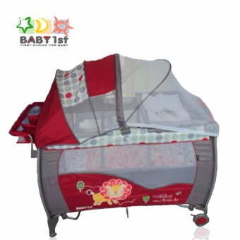 Baby 1st P-516PA Portable Playpen Diaper Changer 2nd Decker with Rocker (Red) Price Philippines