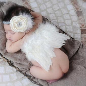 Baby Girl Headband With Angel Feather Wing Costume Photo Prop Outfit - intl Price Philippines