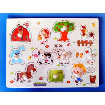 Harga Wooden Inset Board Farm Animals Puzzle - Educational and Therapeutic Toy