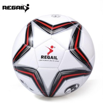 Harga Toys Games Soccer Balls Regail Size 5 Pu Star Training Football Soccer Ball(Red With Black) - intl