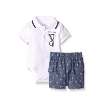 Harga Calvin Klein Baby Boys' Interlock Bodysuit with Woven Shorts (White Top/Woven CK Print Shorts)