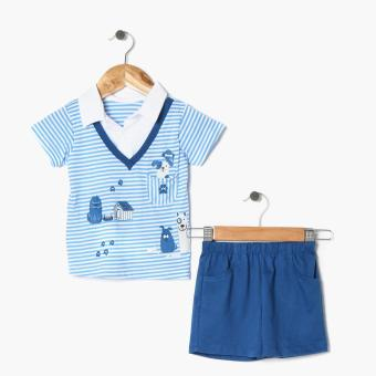 Hush Hush Boys Doggie Friends Faux-Layering Polo Shirt and Shorts Set (Blue) Price Philippines