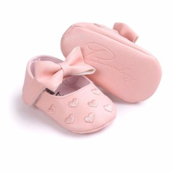 Newborn Baby Girl Soft Soled Shoes Breathable Comfortable Anti-slip Footwear PU Leather Baby Shoes - intl Price Philippines