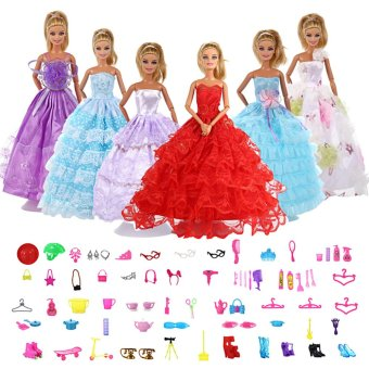 80pcs Barbis Accessories with 6Pcs Multi-Style Barbie/Pullip/Jenny Doll Handmade Fashion Wedding Party Gowns Dresses Clothes for Barbie Dolls Kids Gifts - intl Price Philippines