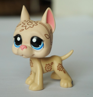 Beige & Tan Great Dane Dog Blue Eyes Deco Flowers Littlest Pet Shop LPS Animals Girl toys - Intl Price Philippines