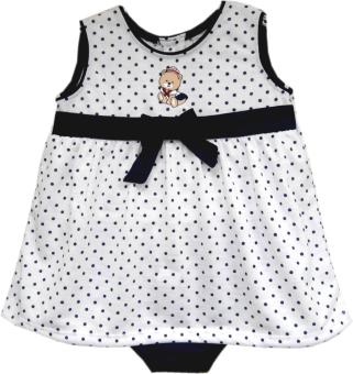 Harga Kid Basix White Top w/Navy Dots & Sailor Bear Embro & Navy Panty Set (Navy)