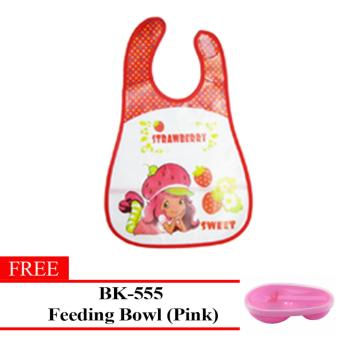 Fashion Strawberry Baby Washable Plastic Feeding Bib(Red)With Free BK-555(Pink) Price Philippines