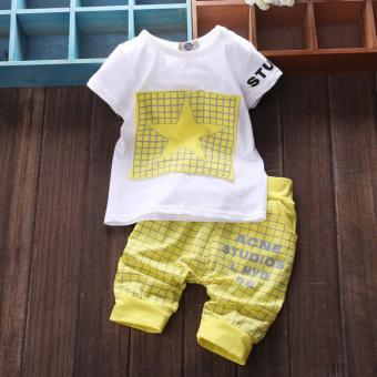 Boys Baby Star Plaid Fashion Summer Sets Kids Children Clothes Set - intl Price Philippines