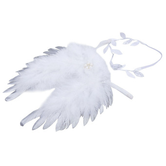 Baby Angel Feather Wings with Leaves Headband Photo Accessories (Silver) (Intl) Price Philippines