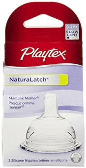Harga 2pcs Playtex Natural Latch Slow Flow Nipple for 0-3M+