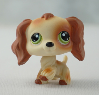 Littlest Pet Shop LPS Brwon Tan Cocker Spaniels Dog Girl toys Green Eyes - Intl Price Philippines