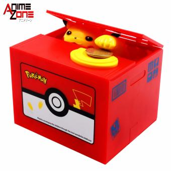 Harga Pikachu Pokemon Anime Money Box Automatic Stole Coin Piggy Bank (Red)