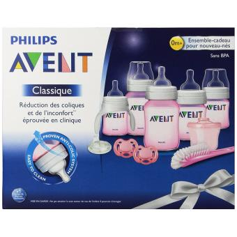 PHILIPS AVENT CLASSIC NEWBORN / INFANT STARTER GIFT SET BPA FREE (clear/ pink ) Price Philippines