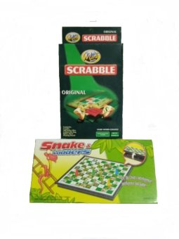 Harga Travel Size Board Games- Snakes and Ladders/Scabble Set