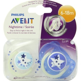 Harga Philips AVENT Pacifier, 6-18 Months, Glow In The Dark, 2 Count Pack