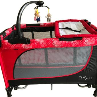 Baby 1st (Tobby Co) Crib Playpen with Rocking system P-510DCR, RED Price Philippines