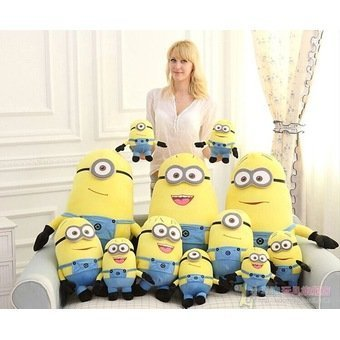 Harga 25cm/32cm/50cm 3D despicable me minion plush toy, minion stuffed doll plush doll toys 3D eyes, valentine's day gift