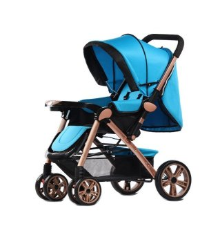 Angel Baby Two-way Four-wheel Folding Aluminum Alloy Baby Stroller (Blue) Price Philippines