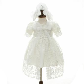 Harga EOZY Newborn Baby Polyester Dress Lace Princess Dresses for Christening Gown Ceremonies (White) - intl