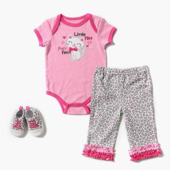 Harga Pure Girls Little Miss Purrfect Onesie, Meggings, And Sneakers Set (Pink)