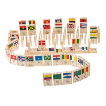 BolehDeals 100Pcs National Flag Cognitive Building Blocks Dominoes Kids Educational Toy - intl Price Philippines