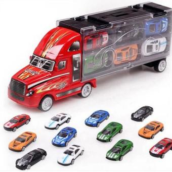 Harga Children's container truck model simulation toy cars 12pcs alloy cars - intl