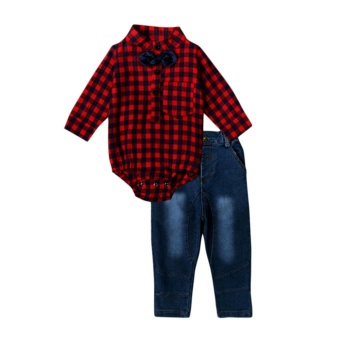 Infant Baby Boys Red Plaid Long Sleeve Romper Tops+Jeans Pants Clothing Sets Outfits for 0-24M - intl