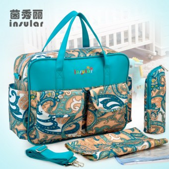Insular multi-functional shoulder large capacity mommy bag