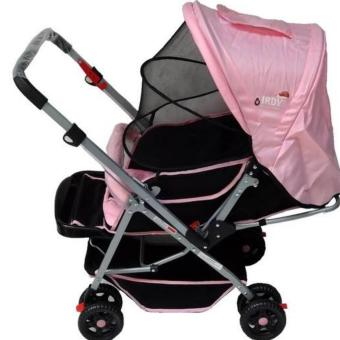 IRDY 829A 3- ways stroller w/ 8 wheels reversible handle w/mosquito net (pink)