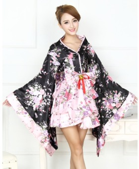 Japanese Kimono Cosplay Cherry Blossoms Pattern Costume Black FreeSize (S-L) - intl