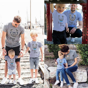 (Kid's) Couple T-Shirt Adult Baby Kids Boys Bear Matching T-shirts Family Clothes - intl