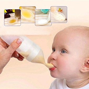 Kuhong Baby Silicone Squeeze Feeding Bottle With Spoon Food RiceMilk Feeder 90ML - intl