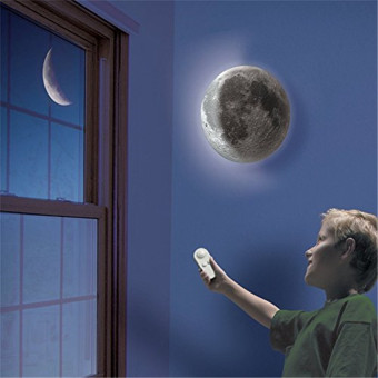 LED Wall Night Light Healing Moon Lamp White Romantic Remote Control - intl