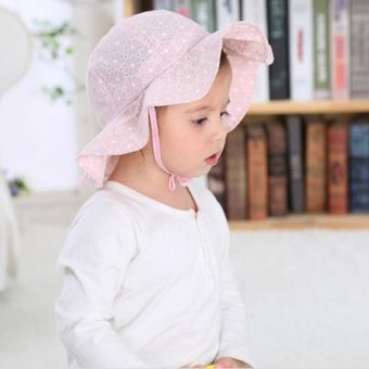 Lovely Baby Girls Summer Outdoor Bucket Hat Toddler Infant SoftCotton Sun Cap - intl