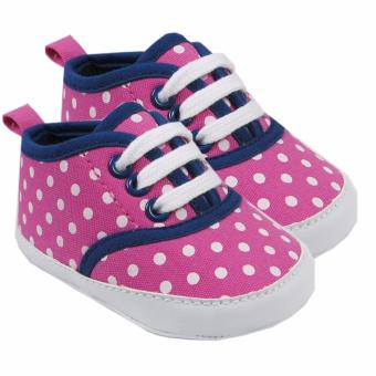Luvable Friends Canvas Sneaker (Pink with White Polka Dots) ForBaby 6 to 12 Months Old