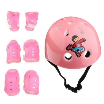 MagiDeal 7 Pieces Kids Roller Skating Cycling Helmet Knee Elbow Pad Wrist Guard Sets Pink - intl