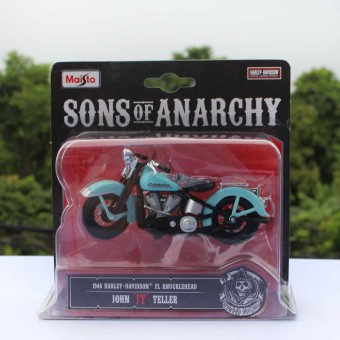 Mei Chi figure sky blue color alloy child toy motorcycle model