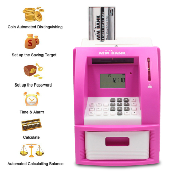 Mini ATM Bank Piggy Bank Personal Saving Money Box Machine WithDigital Display For Children As Gift Pink