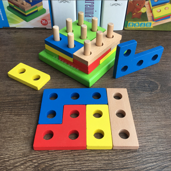 Montessori's Children's Early Childhood matching sets toys assembled building blocks