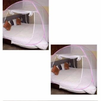 Mosquito Net Set of 2 (Pink)with Free Travel Mate Toiletry KitOrganizer (Color May Vary)