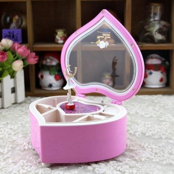 Music Box Creative Peach Heart Shaped Rotary Girl Design Desk Display (Pink)