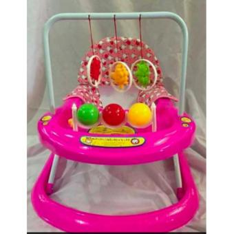 Musical Soft Cushion Baby Walker with Adjustable Height (A3-Pink)