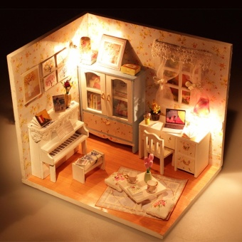 New Kits DIY Wood Dollhouse miniature with LED+Furniture+cover Dollhouse room - intl