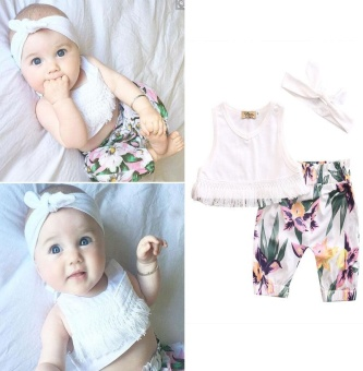 Newborn Baby Girl Clothes Tassel Tops Pants Headband 3pcs Outfit Sunsuit Clothes