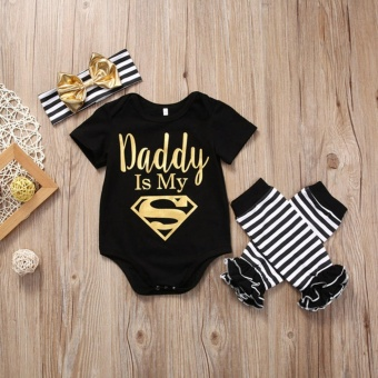 Newborn Baby Girl Romper Striped Headband Leg Warmer Clothes Outfit - intl